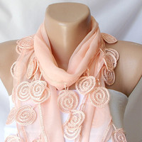 Coral light orange Cotton Scarf with Lace by Periay on Etsy