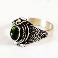 Poison Ring with Oval Green Peridot Stone, Sterling Silver Chamber Ring, Size 5.25 (V1441)