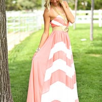 Dreamy Chevron Maxi Light Coral