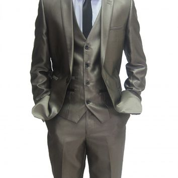 Mens Shiny Gold designer Three Piece Suit with Black trim (Robson)