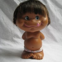 Vintage Doll Hawaiian Polynesia Boy Holiday Fair Inc. Japan 1968 Mark Rubber Dark Skin Tongue Freckles Collectible Clean