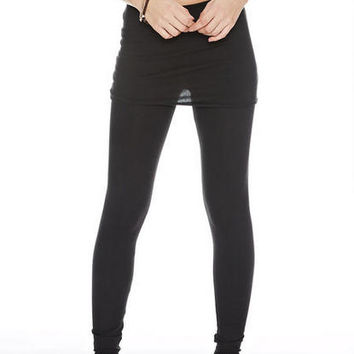 Foldover Skirted Leggings - Black