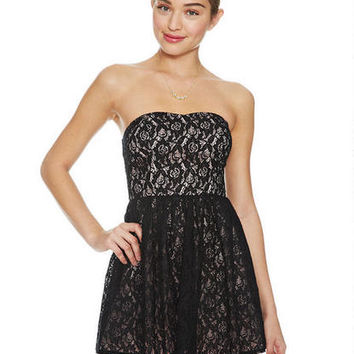 Lace Peek-a-Boo Mesh Bottom Dress -