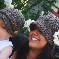 Newsboy Hats Mother Son Set Barley Brown by SoLaynaInspirations