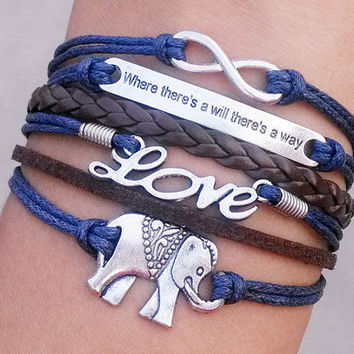 "elephants bracelet, bracelets, bracelets, ""where there is a will there is a way, there is a way"", Christmas gifts, had better choose gifts"