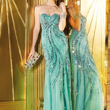Alyce Prom 6286 - Ice Mint Strapless Sequin Prom Dresses Online