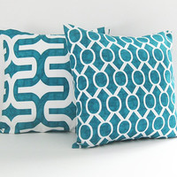 Turquoise Pillow Covers Decorative Pillows 22x22 Cushion Covers Couch Pillows