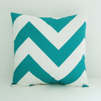 Turquoise Pillow Cover Decorative Pillow 20x20 Cushion Cover Chevron Pillow
