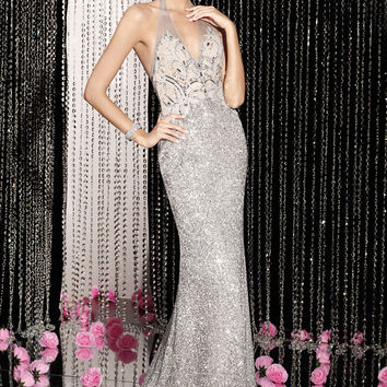 Alyce Paris 5596 - Silver Open Back Sequin Prom Dresses Online