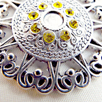 Silver Pendant, Yellow Rhinestones, Round Pendant, Scroll Style, 40mm Silver Pendant, Jewelry Supplies, Antique Silver Style