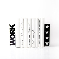 Bookends - WORK 4 stars - for home or public library, black, laser cut from metal thick enough to hold a bunch of books