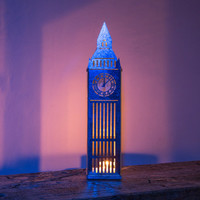 Tin house candle holder Big Ben. Charming piece of decor to use as a candle holder or just a strong eye catcher