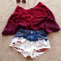 Red, White & Blue High Wasited Denim Shorts