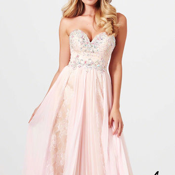 Mac Duggal 81980M - Ice Pink/Nude Strapless Beaded Prom Dresses Online