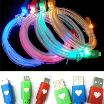 Casecover Glow-in-the-dark Loving Heart LED Light up Cable Micro USB Data Sync Charger Round Cable for for ALL Android Phones Galaxy S2 S3 S4, Htc One X, Lg, Samsung Galaxy Note 2 , Sony Experia, Nokia Lumia, Blackberry, Motorola Droid, Etc. (1 green)