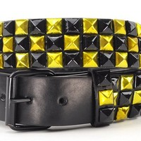 NYfashion101 Punk Style Pyramid Stud Belt Metallic Bk/Gold BY180