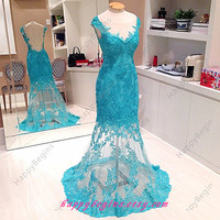 Ball Gown Lace Dress/ Long Beaded Backless Prom Dress/ Homecoming Dress/ Evening Dress