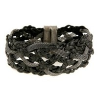 Braided Leather and Hematite Bracelet | Hot Topic