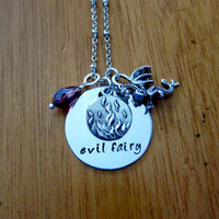 """Disney's """"Sleeping Beauty"""" Inspired Necklace. Villain Maleficent, Evil Fairy. Silver colored, Swarovski crystal, for women or girls"""