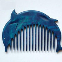 $15.00 Wooden Comb Blue Dolphin Hand Carved Natural Head by ArtGiftStore