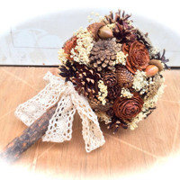 Rustic wedding bouquet pine cone country forest fall winter bridal flowers alternative