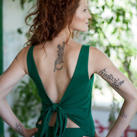 Open back dress, Emerald green maxi dress, Convertible dress