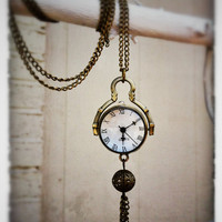 Long Clock NecklaceBronze by labellemoon on Etsy