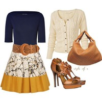 Yellow and Print Skirt - Polyvore