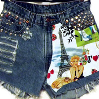 Eiffel Tower Shorts Cut Offs High Waisted Denim Shorts by twazzy