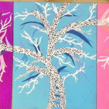 3 panel abstract tree