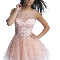 Dave & Johnny 9888 Short Illusion Dress