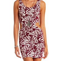 Hawaiian Print Cut-Out Bodycon Dress