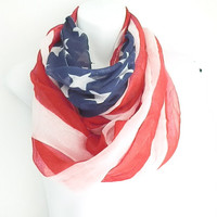 Patriotic Flag Scarf Infinity Scarf American Flag scarf Red white and Blue scarf scarves with stars and stripes Independence Day Scarfs