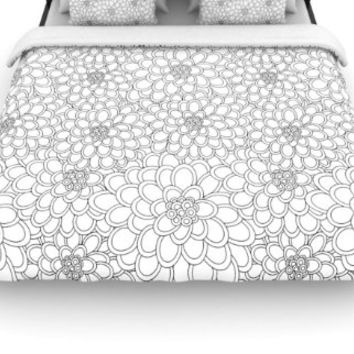 "Kess InHouse Julia Grifol ""White Flowers"" 88 by 104-Inch Woven Duvet Cover, King"