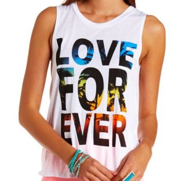 LOVE FOREVER OPEN BACK GRAPHIC MUSCLE TEE