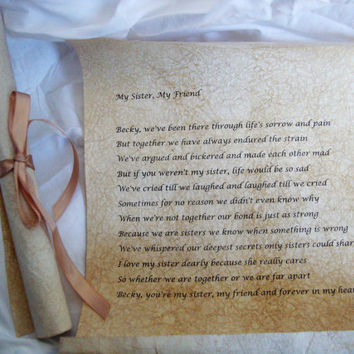 Sisters Scroll Personal Message Gift on Handmade Scroll Parchment Paper, Free shipping in USA