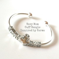 Navy Mom Bangle Cuff Bracelet