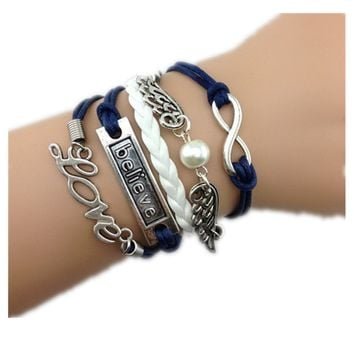 Healthtop Handmade Angel Wings Believe Love Blue White Silver Leather Rope Bracelet