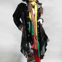 China Ethnic linen Long sleeved Windbreaker Coat by sanghema