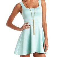 SCALLOPED SLEEVELESS SKATER DRESS