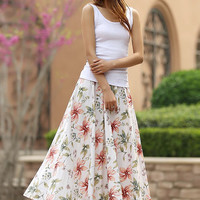 long floral skirt  - women long skirt with elastic waist  summer skirt - custom made    (950)