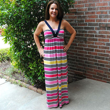 Beautifully Braided Striped Maxi Dress