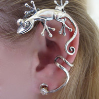 Silver Curious Gecko Ear Wrap by martymagic on Etsy