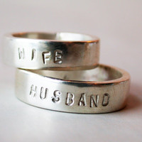 husband and wife sterling silver wedding band pair by lovinganvil