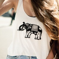 CINDY ELEPHANT EMBROIDERY TANK