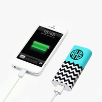 Mint Monogram Chevron Print Portable Power Bank Battery Charger for iPhone and Samsung - power bank