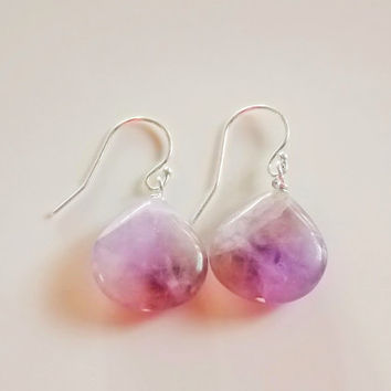 chevron amethyst earrings     sterling silver amethyst earrings    sterling silver earrings   amethyst quartz earrings