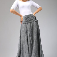 Linen skirt  wrap skirt soft gray skirt  maxi skirt (689)