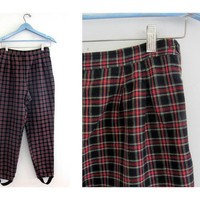 Vintage plaid stirrup pants / red and black slacks / size 10