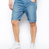 ASOS Denim Shorts In Slim Fit Mid Length - Blue
